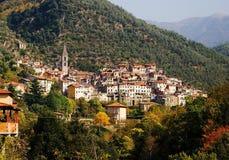 Pigna, una ciudad en Liguria, Italia Imagen de archivo