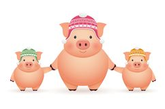 Pigs in caps on white background. Chinese New Year of the Pig. Stock Illustration