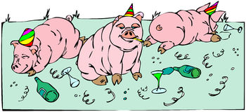 Pigs celebration Royalty Free Stock Image