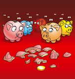 Pigs-coin boxes. Alive pigs of a coin box with a fright look at splinters of the broken pig of a coin box Stock Photo
