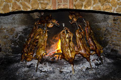 Pigs in cooking. Pigs in the kitchen on fire as per tradition of the region of Sardinia, Italy Royalty Free Stock Photos
