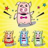 The pigs dancing very happy vector illustration Royalty Free Stock Image