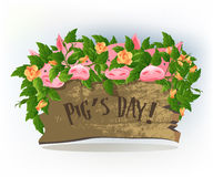 Pigs day. Funny holidays, Pigs day, cute picture of pink pigs in roses Royalty Free Stock Images