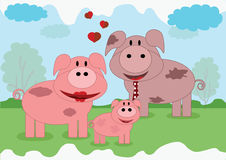 Pigs family Royalty Free Stock Images