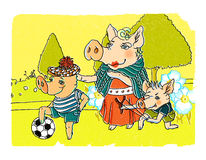 Pigs family in a park illustration. Graphic illustration of a mother pig with her two sons walking in a park royalty free illustration