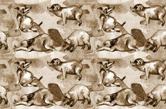 Pigs on the farm. Seamless pattern. royalty free illustration