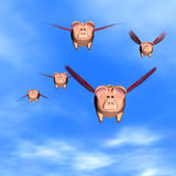 When Pigs Fly. Five Piggy Banks flying away with your investments Royalty Free Stock Image