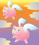 When Pigs Fly. Two pigs with wings flying high into the sky Stock Images