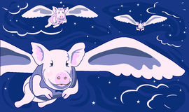 When Pigs Fly. Is original artwork with a lot to say!  The  vector is in easy edit layers and in AI-EPS8 format Stock Photo