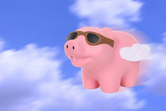 When Pigs Fly. A humorous metaphor signaling when pigs fly royalty free stock photography