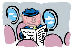 When pigs fly. Cartoon pig in business suit flying alone inside airplane Stock Image