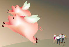Pigs fly. Illustration of a team of business people watching two pigs fly Stock Images