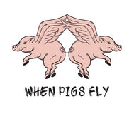 When pigs fly. Quote typographical background. Stock Images
