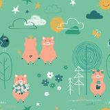 Pigs In The Forest Seamless Pattern. stock photo