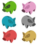 Pigs. Little moneybox green pink blue red gold pigs Royalty Free Stock Photography