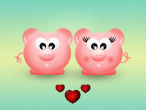 Pigs in love Stock Photography