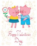 Pigs in love. Valentine`s day card with pigs in love Stock Photos