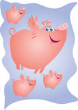 Pigs might fly. A cartoon  illustration of four flying pigs Stock Photo