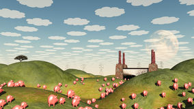 Pigs move like lemmings. Toward factory Royalty Free Stock Images