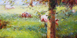 Pigs painting vector illustration