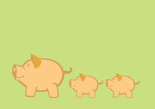 Pigs and Piglets Vector Illustration. Vector illustration of mother pigs leading piglets on green background royalty free illustration