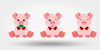 Pigs with red bows. Set. Icon. Vector illustration. Flat design stock illustration