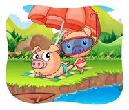 Pigs relaxing by the pond Royalty Free Stock Photo