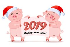 Pigs in Santa Claus hat holding banner with congratulation. Symbol of Chinese New Year 2019. Vector illustration stock illustration