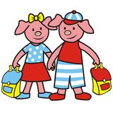 Pigs and schoolbag. Two pigs with briefcases going to school. Amusing illustration for children Stock Images