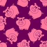 Seamless pattern pigs. Pigs seamless pattern pig farm background hand drawn vector Royalty Free Stock Photos