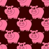 Seamless pattern pigs. Pigs seamless pattern pig farm background hand drawn vector Stock Photo