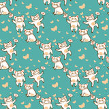 Pigs seamless pattern. Three happy pigs on a blue background. Seamless pattern Royalty Free Stock Image