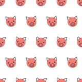 Pigs seamless vector background. Cute polka dot pig faces pattern coral pink on white. Geometric fun kids design. For fabric, kids royalty free illustration