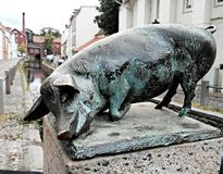 Pigs statue on the streets of Wismar Royalty Free Stock Photos