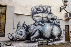 Pigs - street art. Photograph of street art in Brussels, Belgium royalty free illustration