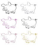Pigs symbols Royalty Free Stock Photos