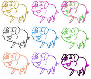 Pigs symbols colors Stock Photography