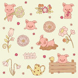 Pigs vector icons set. Many adorable piglets in different situations. Vector art Royalty Free Stock Photos