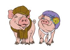 Pigs in winter clothes hat and scarf. On a white background, vector illustration stock illustration