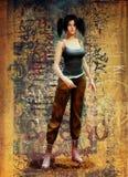 Pigtail śliczna dziewczyna w ulicznych ubraniach Zdjęcie Stock