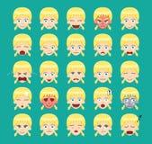 Pigtail Blonde Girl Emoticons Cartoon. Vector Illustration Emoticon Girl Cartoon Royalty Free Stock Photos
