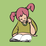 Pigtail girl reading book. Cartoon character pigtail girl reading book Royalty Free Stock Image