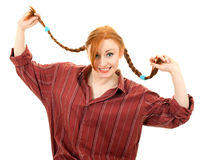 Pigtail young red hair woman Stock Photos