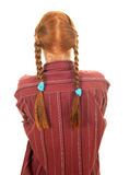 Pigtail young red hair woman Stock Images