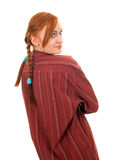 Pigtail young red hair woman Stock Image