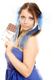 Pigtails girl with chocolate enjoy Royalty Free Stock Images
