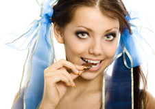 Pigtails girl with chocolate enjoy isolated Stock Photos