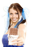 Pigtails girl suggest chocolate Royalty Free Stock Images