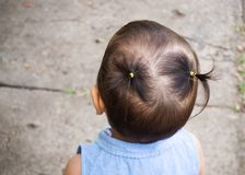 Pigtails hair of little girl. Closeup hair behind head. Stock Images