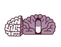 Pigułka w móżdżkowej ilustraci Placebo pojęcie Royalty Ilustracja